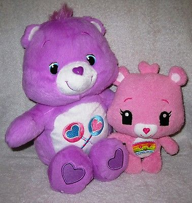 RARE - TWO CARE BEARS - SHARE-A-LOT BEAR AND SMALL CHEER BEAR - GREAT GIFT ITEMS