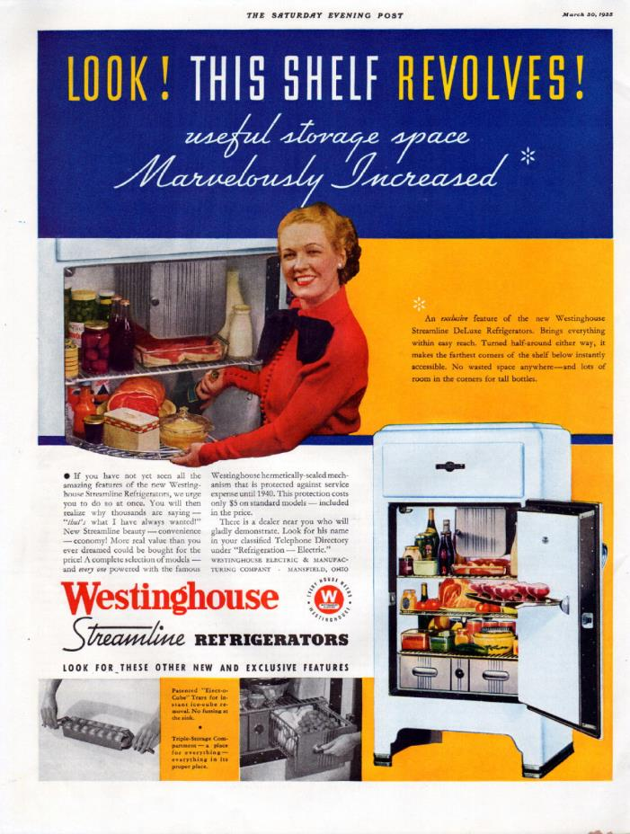 1935 Westinghouse Streamline Refrigerators ad  ------t958