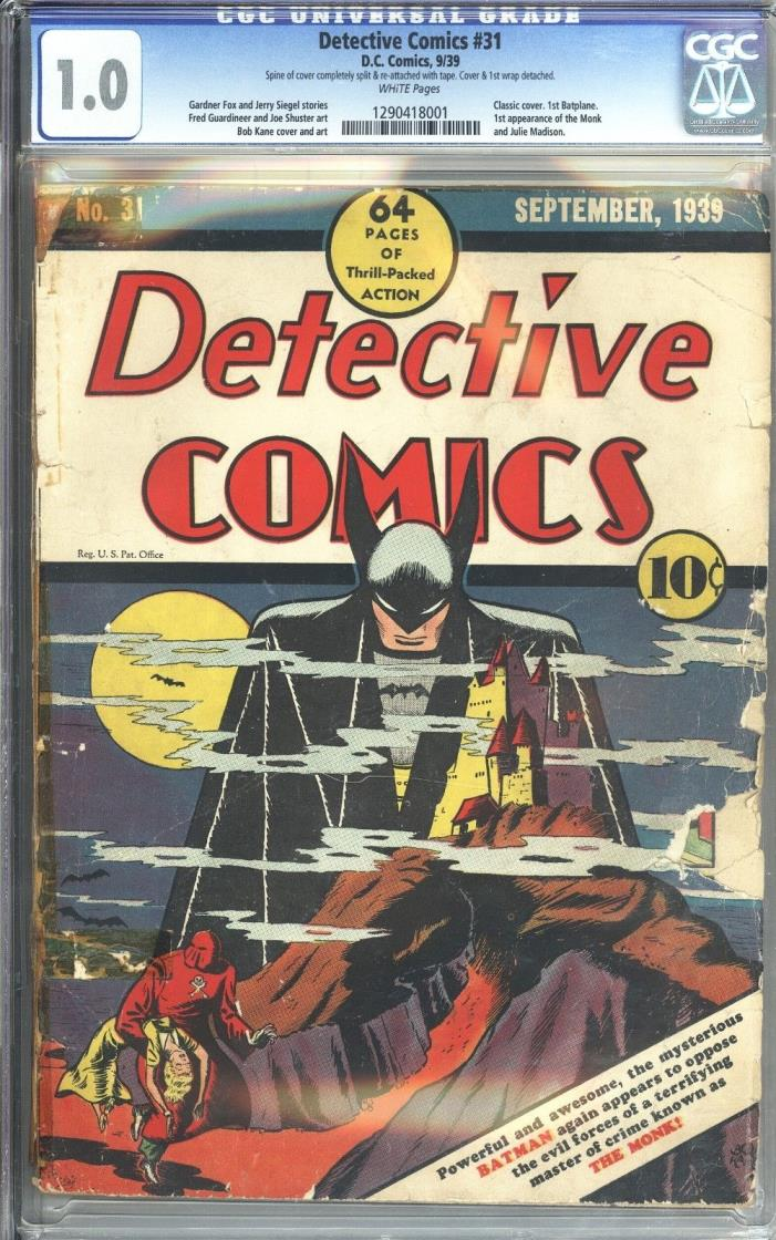 Detective Comics #31 Vol 1 CGC 1.0 Unrestored