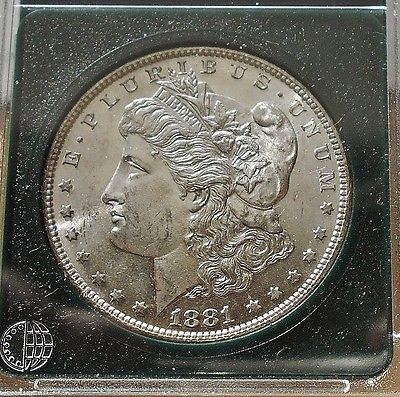 1881 S Gem Bu Morgan Silver Dollar RAINBOW TONING ON REVERSE HIGHER GRADE