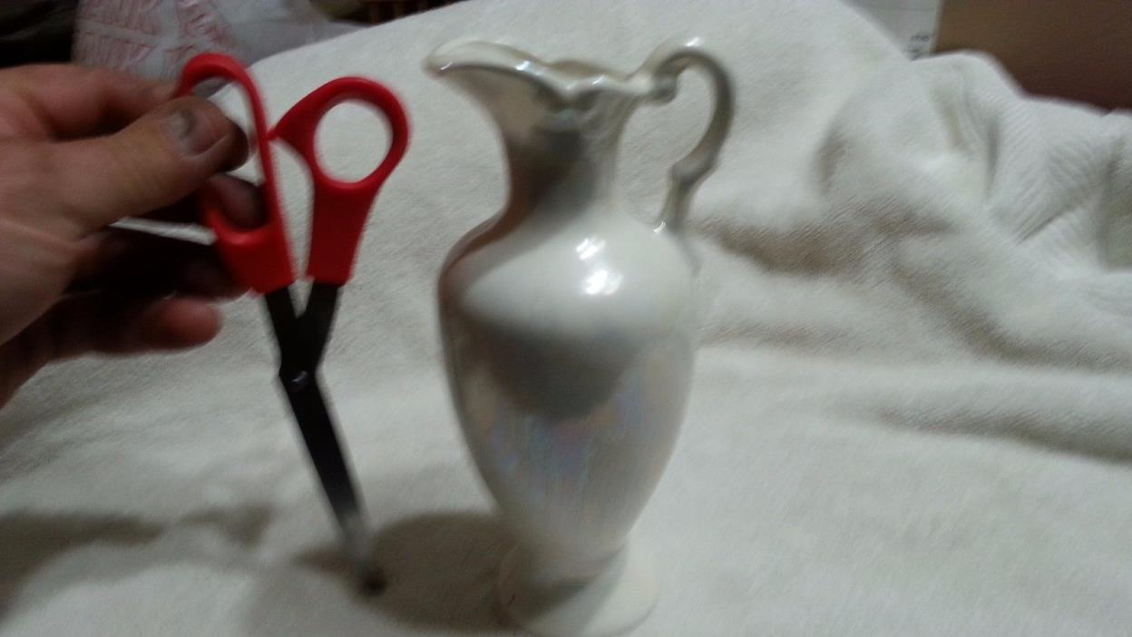 White vase decorative handle pitcher ceramic yellow design