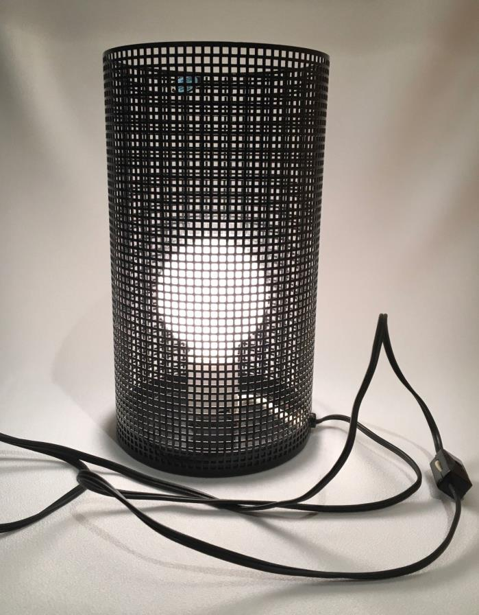VINTAGE MCM RETRO TABLE DESK FLOOR LAMP  Metal Cylinder with Porcelain Socket