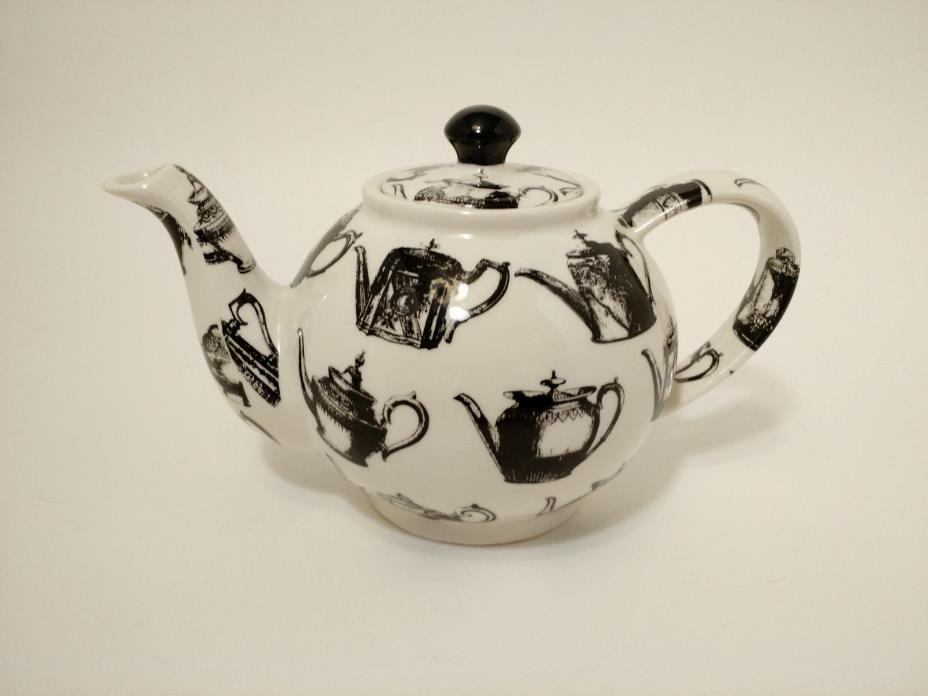 Paul Cardew Pewter Teapots Made in England Black White Teapot