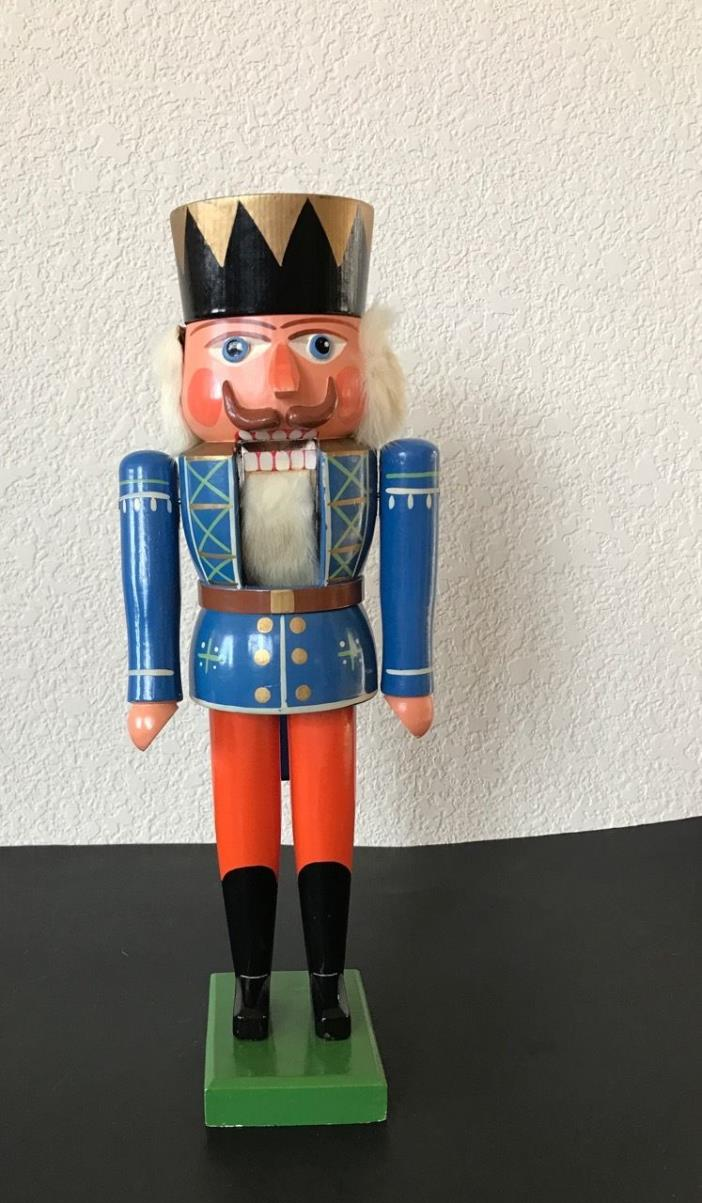 Nutcracker Soldier Blue Painted Wood 14