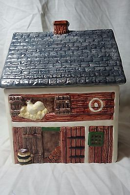 Block Country Village Barn Canister Storage Jar Cookie Chicken Cows Red