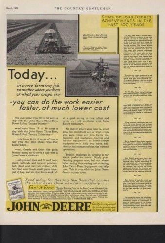 1931 JOHN DEERE TRACTOR FARM IMPLEMENT CROP HARVEST AD 10364