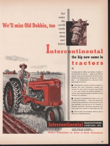 1949 INTERCONTINENTAL TRACTOR PLOW HORSE FARM MOTOR AD10305