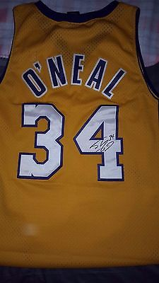 NBA HOF SIGNED 100% AUTHENTIC SHAQUILLE O'NEAL LAKERS STITCHED JERSEY! CHEAP!