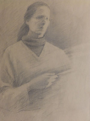 'KEEPER OF THE LIGHT' Vintage Mid Century Pencil Drawing