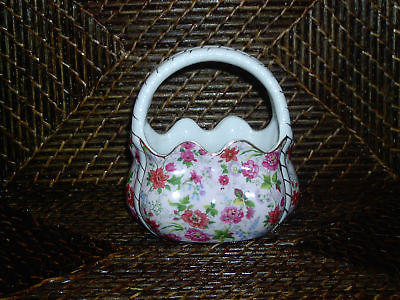 Miniature planter purse handbag figurine colorful flowers gold trim design