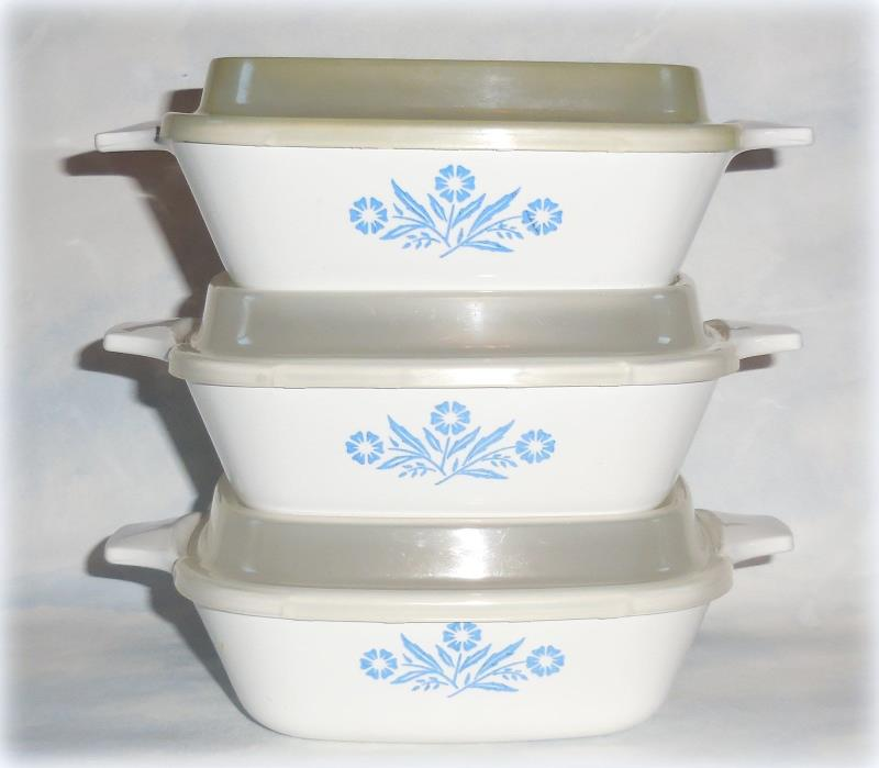 Vintage Corning Ware Cornflower Refrigerator Storage Casserole Dish Bowls & Lids