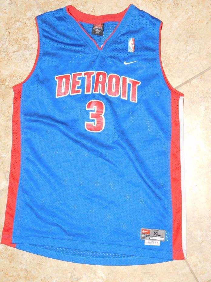 VINTAGE NBA DETROIT PISTONS JERSEY WALLACE NO.3 STITCHED PATCHES MENS SMALL EUC