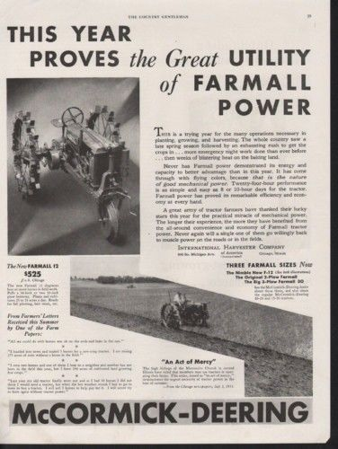 1933 MCCORMICK DEERING FARMALL TRACTOR FIELD CULTIVATE 10430