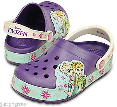 CROCS Little Girl's 13 CrocsLights Disney FROZEN™ CLOGS Light-Up ~ New with Tags