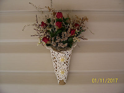 Rose Bouquet Tussie Mussie Crocheted Doillie With Vintage Buttons *Handmade*