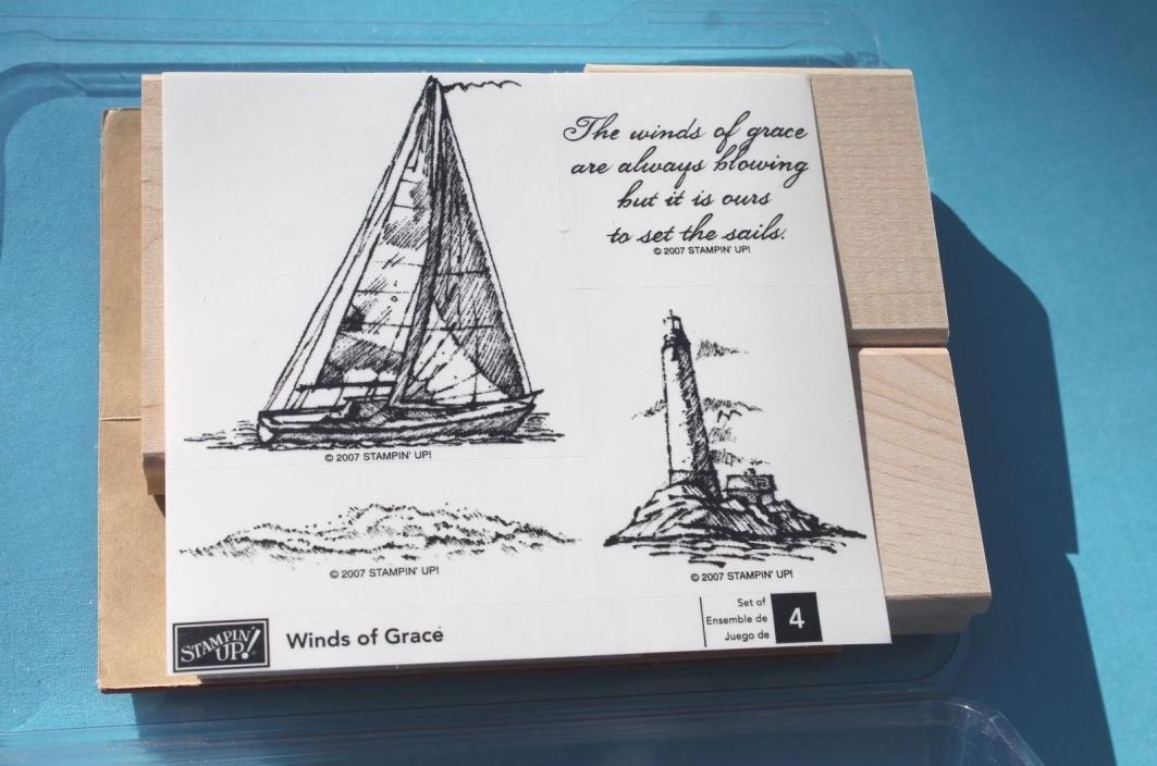 Winds of Grace~ Stampin Up! 2007 Sailboat Lighthouse Set of 4 NEW