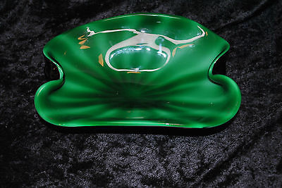 FANTASTIC GREEN/ WHITE / PURPLE ART GLASS DISH