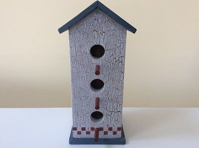 Hand Painted Decorative  Birdhouse, crackle finish, red, white, and blue