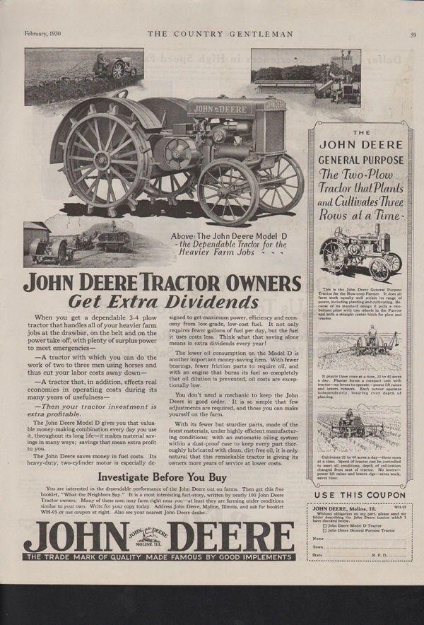 1930 JOHN DEERE TRACTOR MOTOR ENGINE IMPLEMENT MOLINE 10367