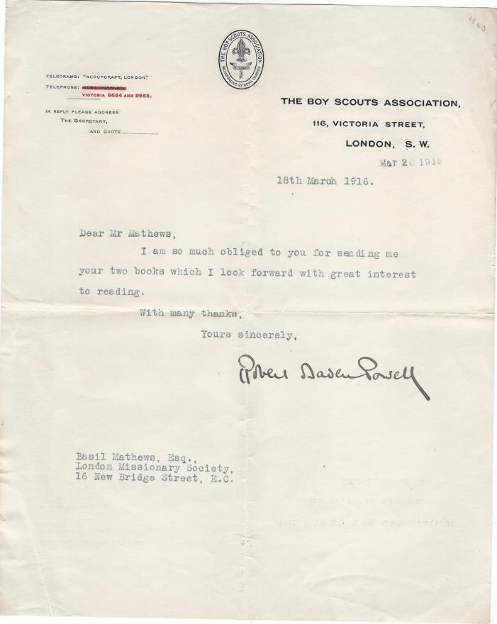 1916 letter signed by General Robert Baden-Powell, founder of the Boy Scouts