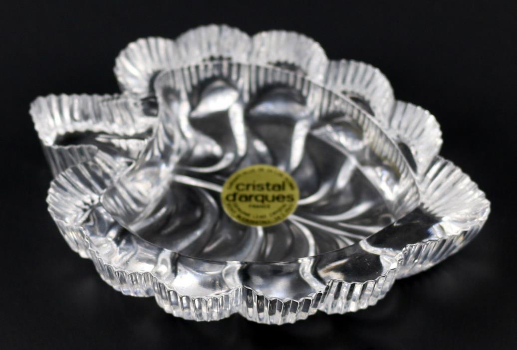 Vintage Cristal D'Arques Lead Crystal Fern Leaf Fougere Dish France NEW NIB