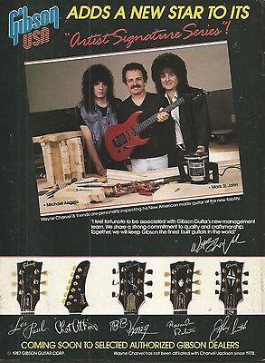 1987 Gibson USA Wayne Charvel Mark St John Michael Angelo Guitar Print Ad