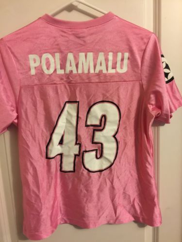 Woman's NFL Pink Pittsburgh Steelers Troy Polamalu Jersey Medium