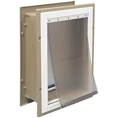 PetSafe Wall Entry Aluminum Pet Door with Telescoping Tunnel, Taupe and White,