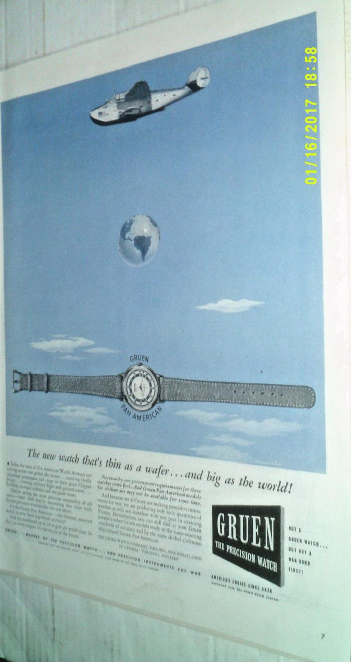 1943 GRUEN PAN AMERICAN PRECISION WATCH ORIGINAL AD