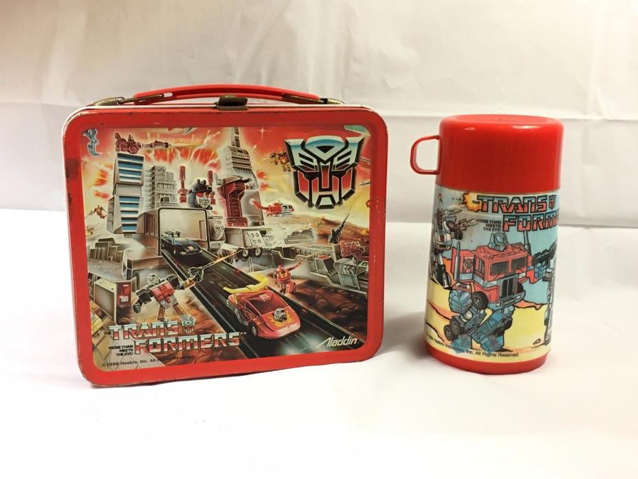 Aladdin 1986 Transformers Metal Lunch Box & Thermos