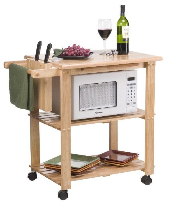 Kitchen Cart Utility Cutting Board Rolling Shelf Island Wood Microwave Stand NEW