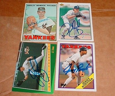 new York Yankees autographed 8 baseball cards Womack, Clarke