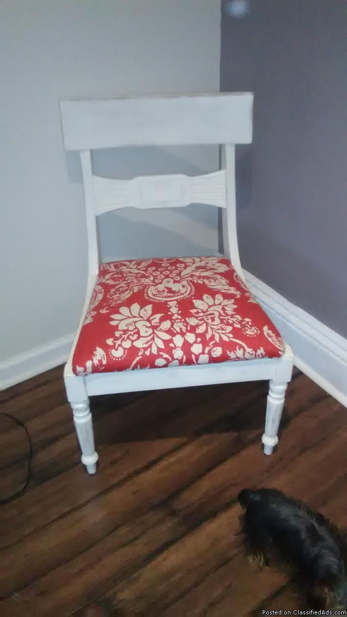 Red and whiter wood chair , beautiful  CHAIR