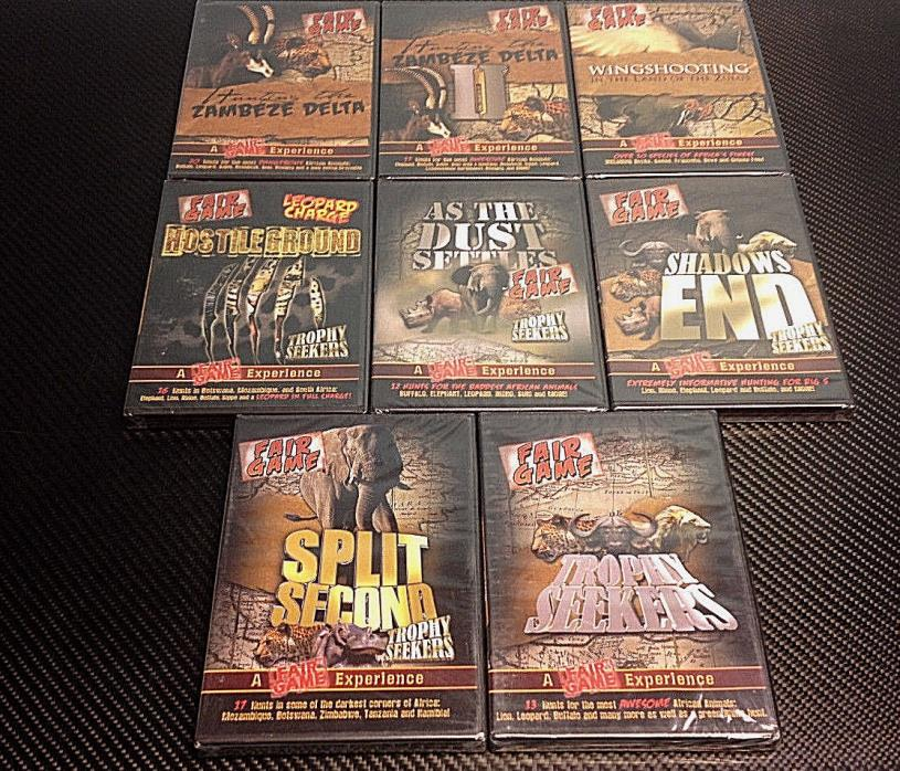 Lot of 8 BRAND NEW Fair Game DVD's-Zambeze Delta-Wingshooting *Free Shipping*