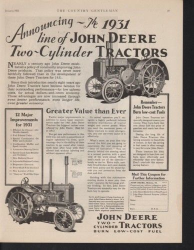 1931 JOHN DEERE TRACTOR FARM AGRICULTURE ENGINE MOTOR 10335