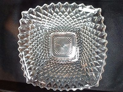 Vintage Crystal Clear Glass Fruit Dessert Square Shaped Serving Dish Bowl