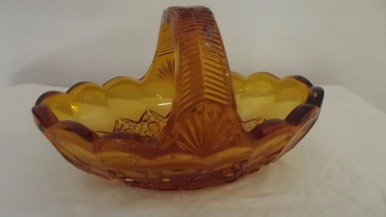 Amber pressed glass brides basket vintage