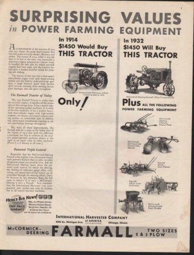 1932 MCCORMICK DEERING FARMALL TRACTOR PLANTER FURROW 10334