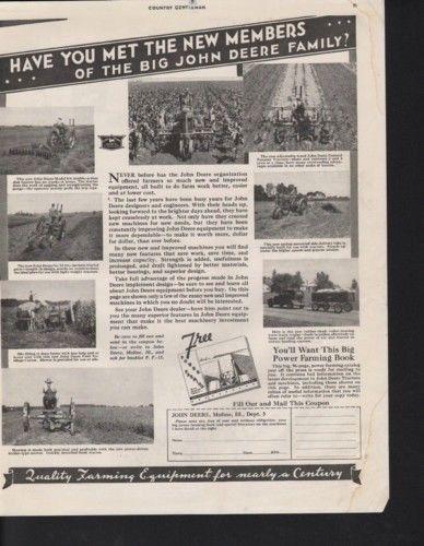 1934 JOHN DEERE TRACTOR FARM IMPLEMENT HARVEST FIELD AD10327