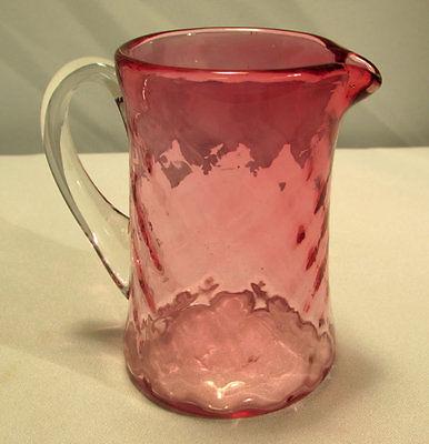 Cranberry Glass Pitcher Creamer Diamond Pattern