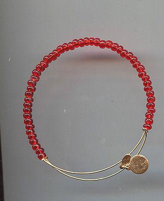 ALEX & ANI gold red glass bangle  bracelet
