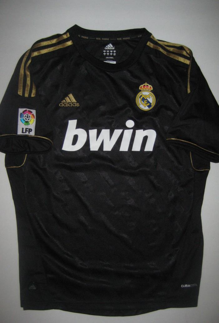 short sleeve 2011 adidas real madrid away black and gold jersey size large