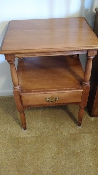 Vintage Solid Maple Nightstand by Crawford Furniture Co.
