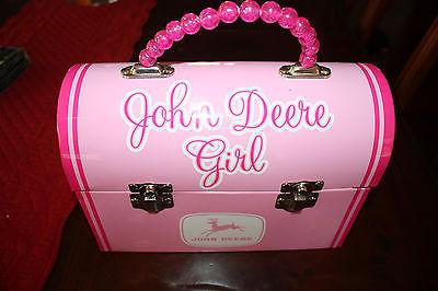 John Deere Girl Pink Metal Lunch Box
