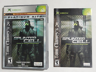 NO GAME-XBOX SPLINTER CELL STEALTH ACTION -GAME CASE & MANUAL ONLY -NO GAME EX