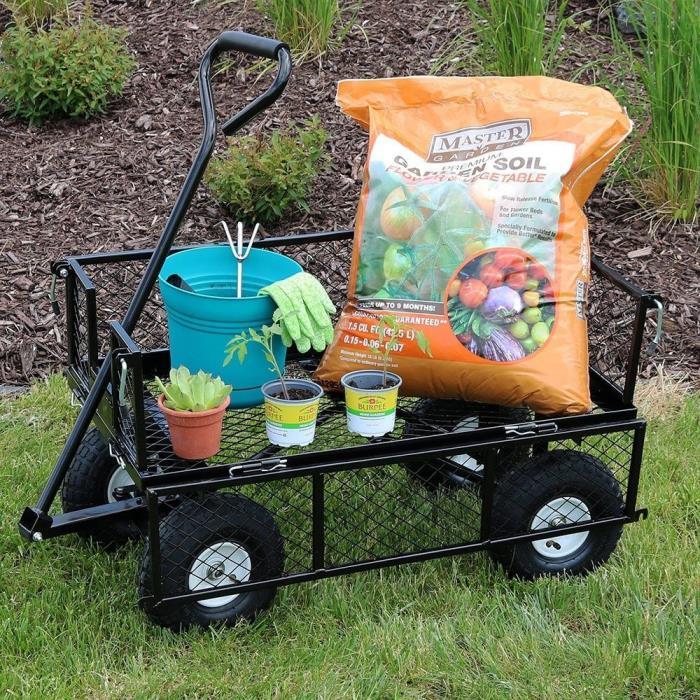 Garden Wagon Cart Utility Duty Heavy Yard Lawn Steel Dump Trailer Drop Sides