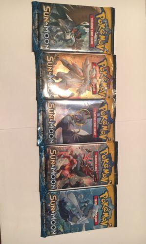 2017 Pokemon Sun & Moon trading cards - 5 new sealed packs!!