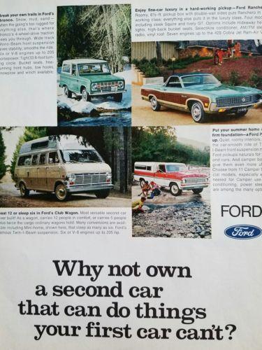 1970 Ford Bronco Ranchero Club Wagon pickup truck color Ad