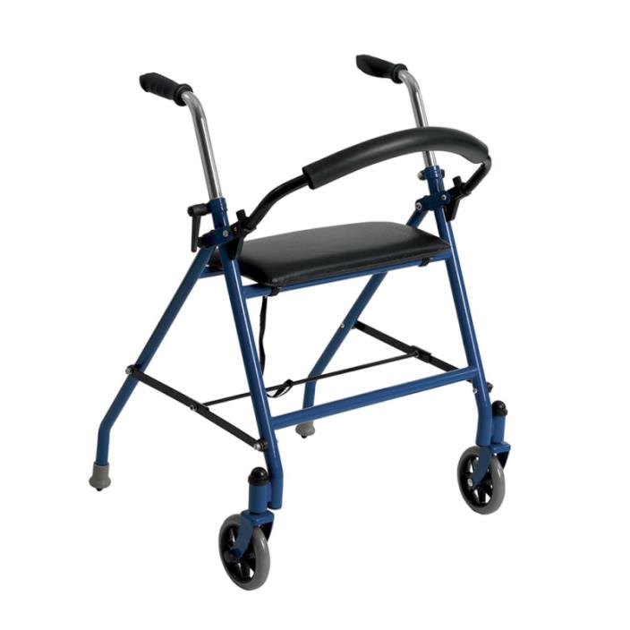 Drive Medical 1239BL Two Wheeled Walker with Seat, Blue