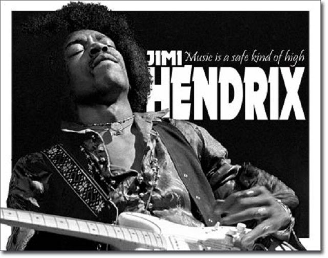 Jimi Hendrix Legend Music Safe High Guitar Icon Woodstock Wall Decor Metal Sign